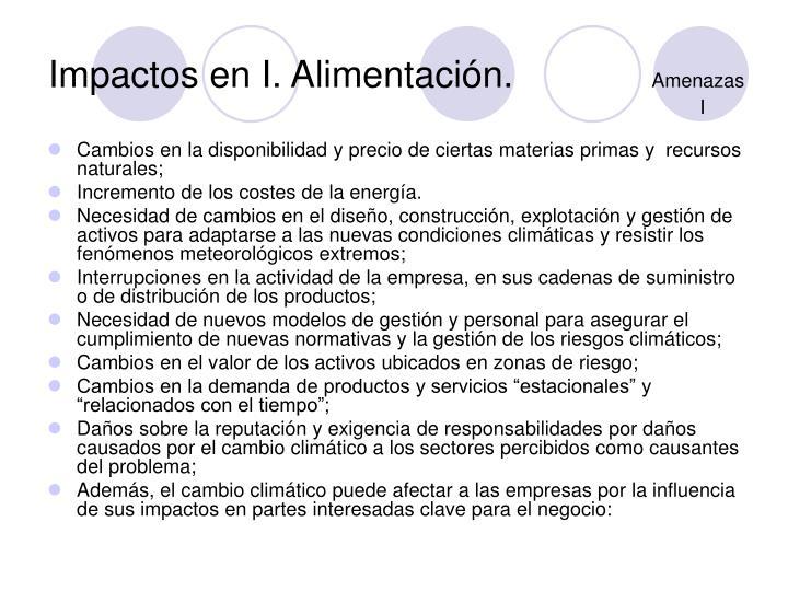 Impactos en I. Alimentación.
