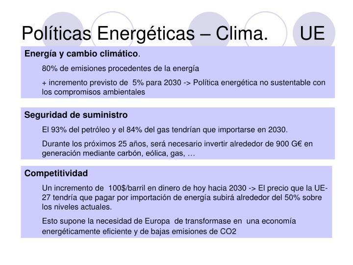 Políticas Energéticas – Clima.      UE