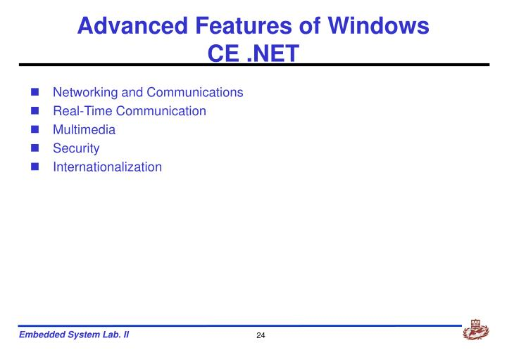 Advanced Features of Windows CE .NET
