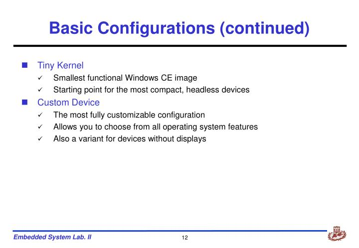 Basic Configurations (continued)