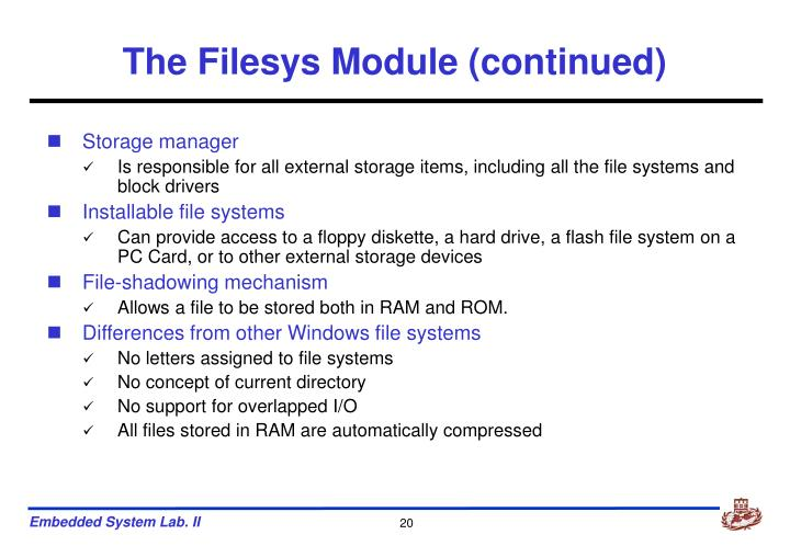 The Filesys Module (continued)