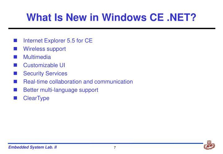 What Is New in Windows CE .NET?