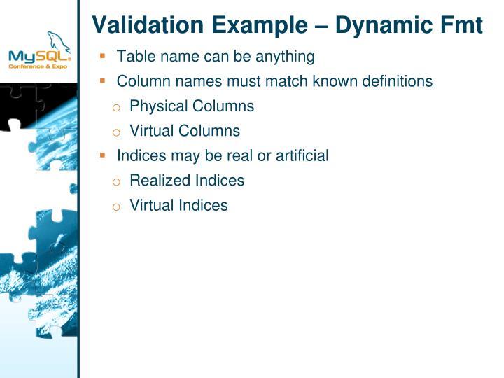 Validation Example