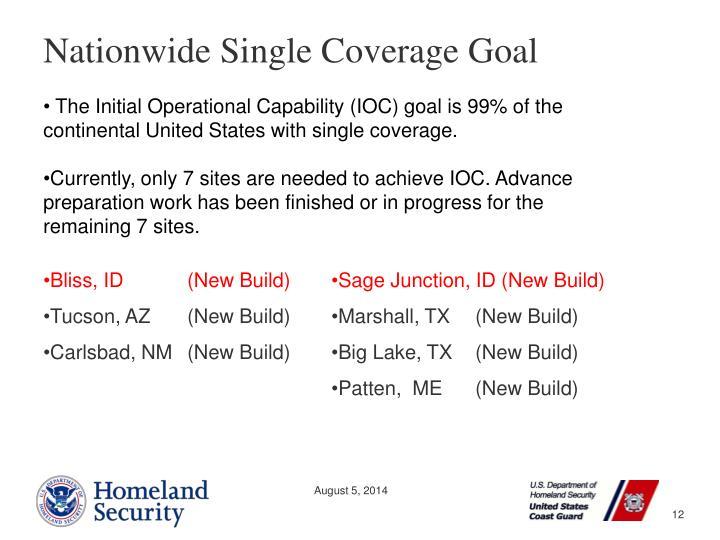 Nationwide Single Coverage Goal