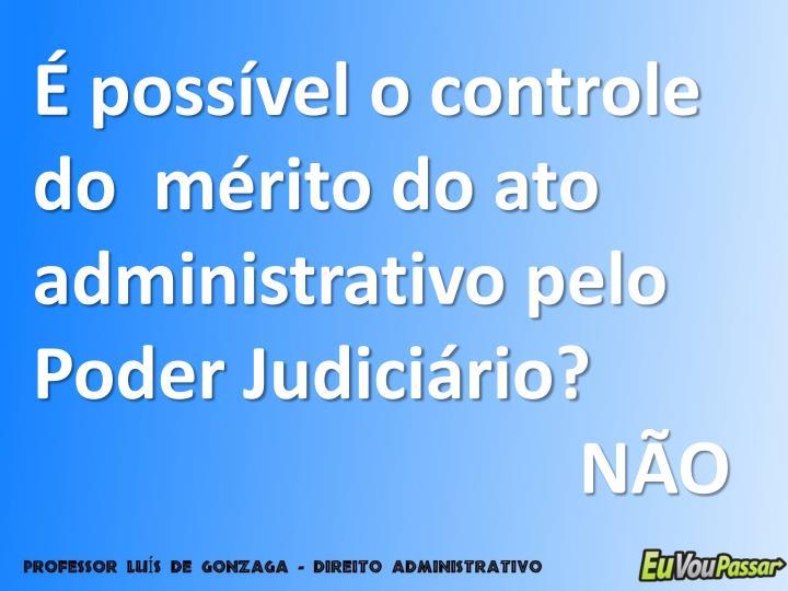 É possível o controle do  mérito do ato administrativo pelo Poder Judiciário?