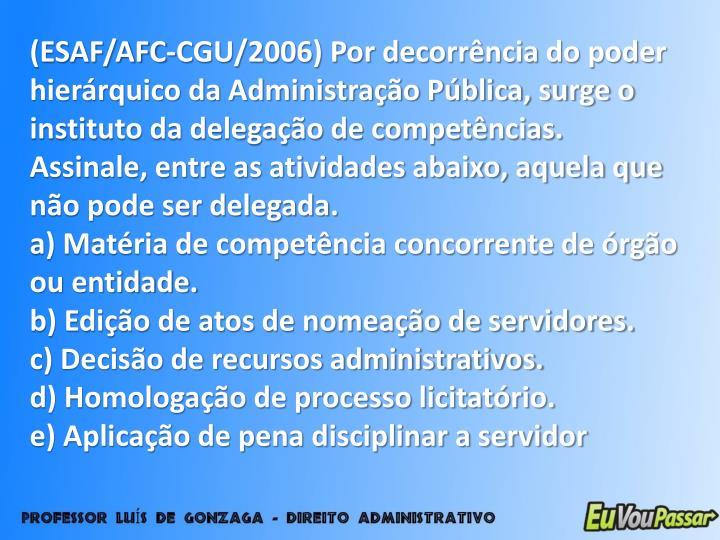 (ESAF/AFC-CGU/2006) Por decorrência do poder hierárquico da Administração Pública, surge o instituto da delegação de competências. Assinale, entre as atividades abaixo, aquela que não pode ser delegada.