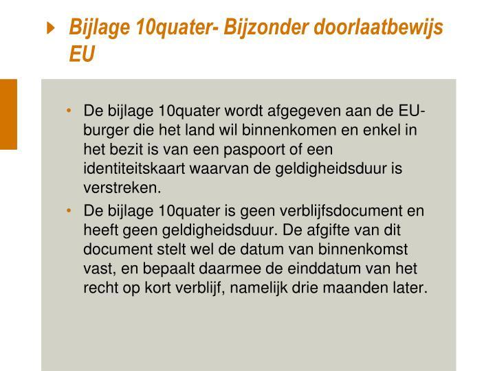 Bijlage 10quater- Bijzonder doorlaatbewijs EU