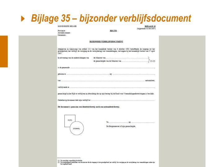 Bijlage 35 – bijzonder verblijfsdocument