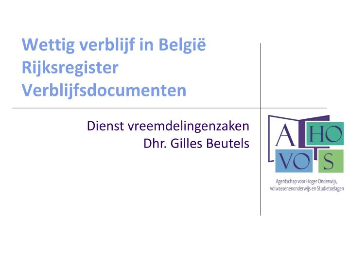 Wettig verblijf in België