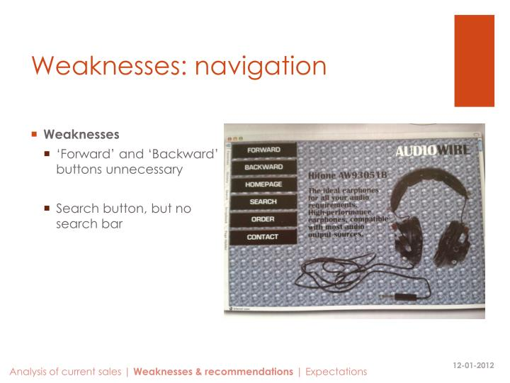 Weaknesses: navigation