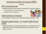 institutional review board irb origins