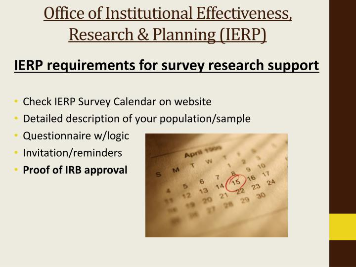 Office of Institutional Effectiveness, Research & Planning (IERP)
