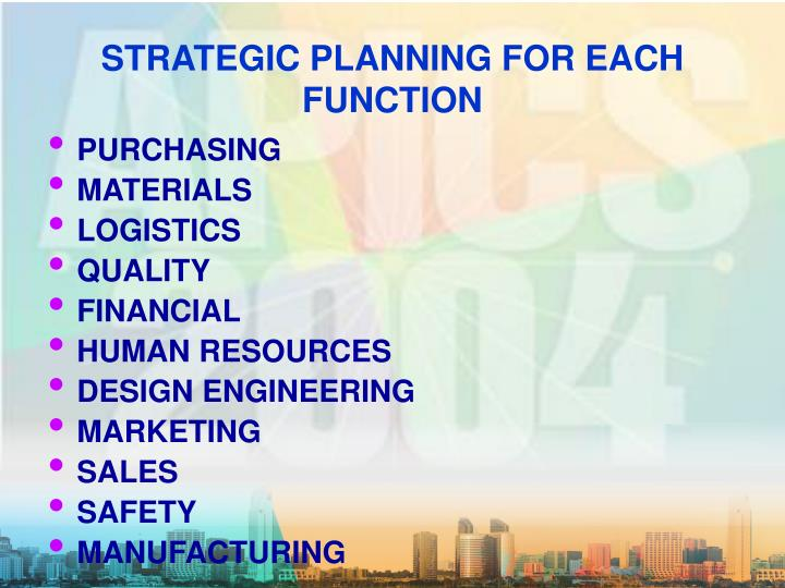 STRATEGIC PLANNING FOR EACH FUNCTION
