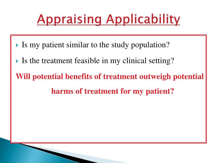 Appraising Applicability