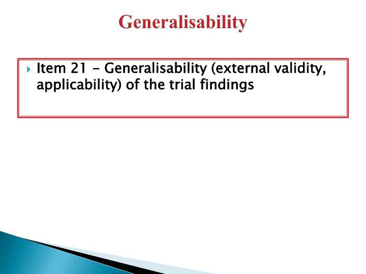 Generalisability