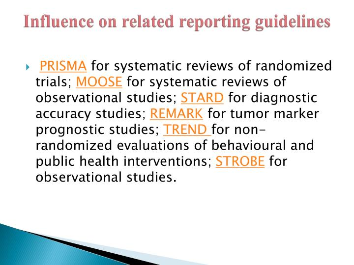 Influence on related reporting guidelines
