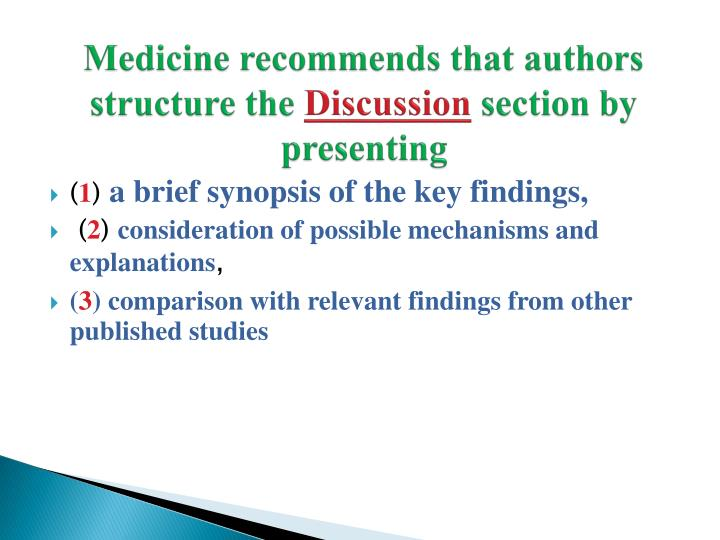 Medicine recommends that authors structure the
