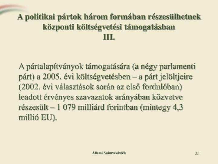 A politikai pártok három formában részesülhetnek központi költségvetési támogatásban