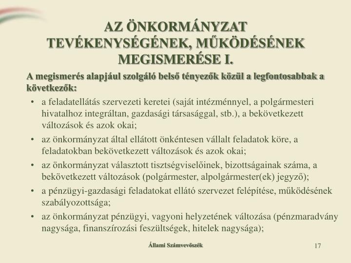 AZ ÖNKORMÁNYZAT TEVÉKENYSÉGÉNEK, MŰKÖDÉSÉNEK MEGISMERÉSE I.