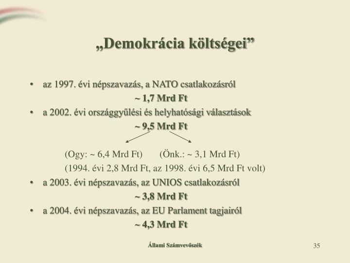 """""""Demokrácia költségei"""""""