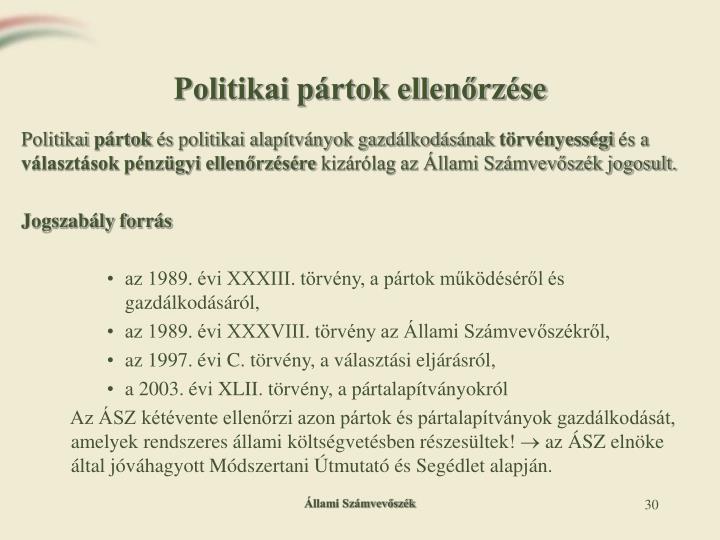 Politikai pártok ellenőrzése
