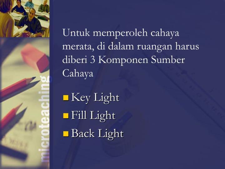Untuk memperoleh cahaya merata, di dalam ruangan harus diberi 3 Komponen Sumber Cahaya