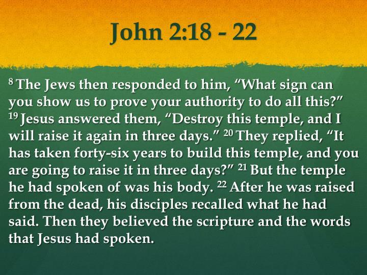 John 2:18 - 22