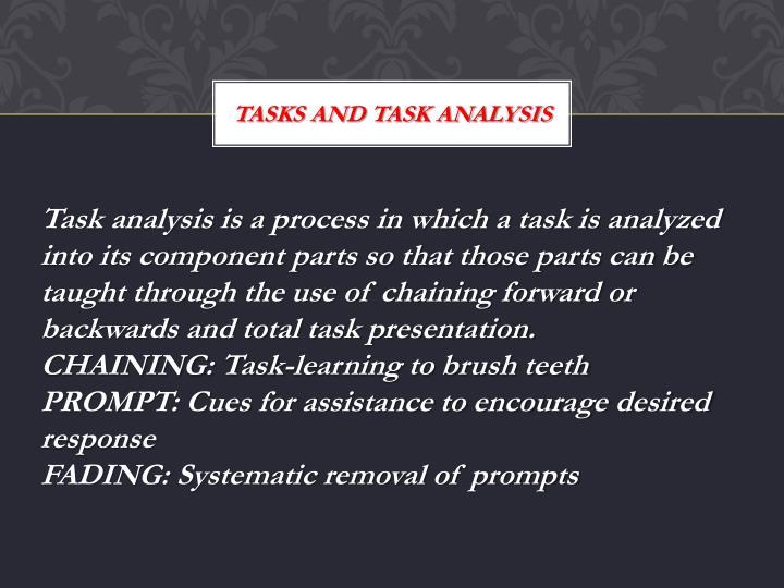 Tasks and task analysis