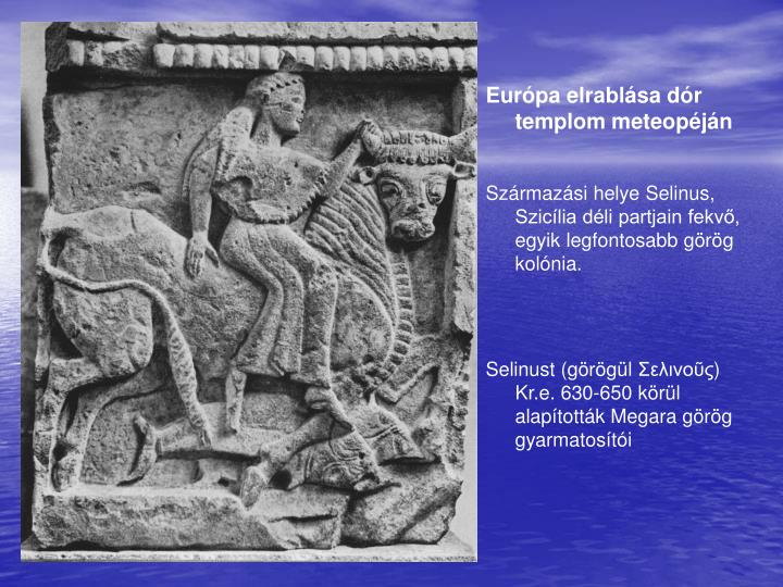 Európa elrablása dór templom meteopéján
