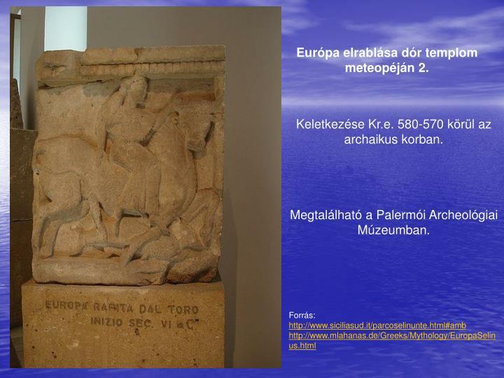 Európa elrablása dór templom meteopéján 2.