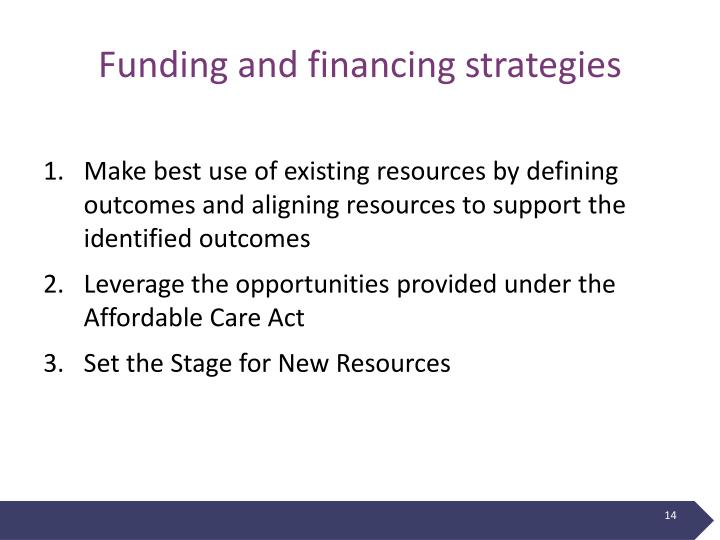 Funding and financing strategies