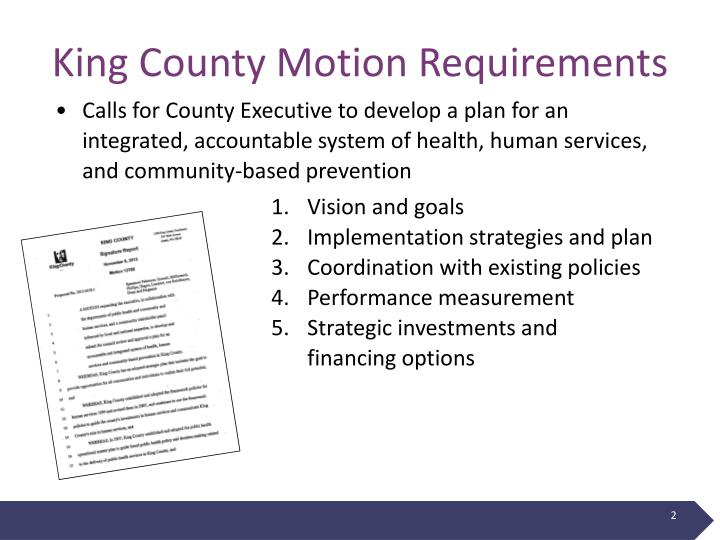 King county motion requirements