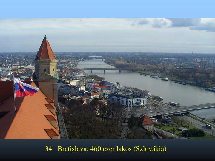 34.  Bratislava: 460 ezer lakos (Szlovákia)