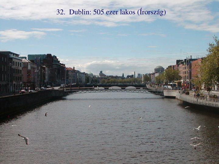 32.  Dublin: 505 ezer lakos (Írország)