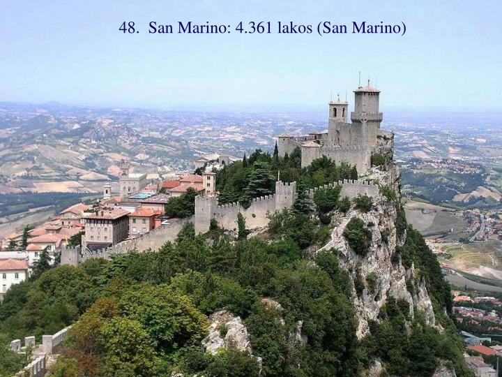 48.  San Marino: 4.361 lakos (San Marino)