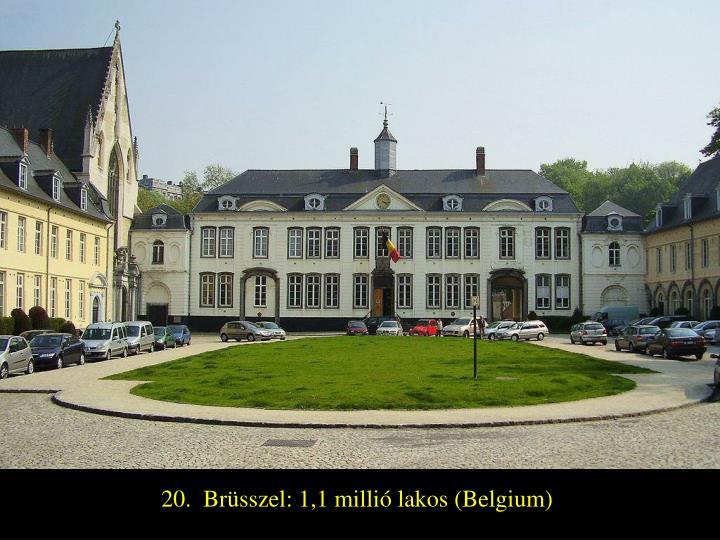 20.  Brüsszel: 1,1 millió lakos (Belgium)