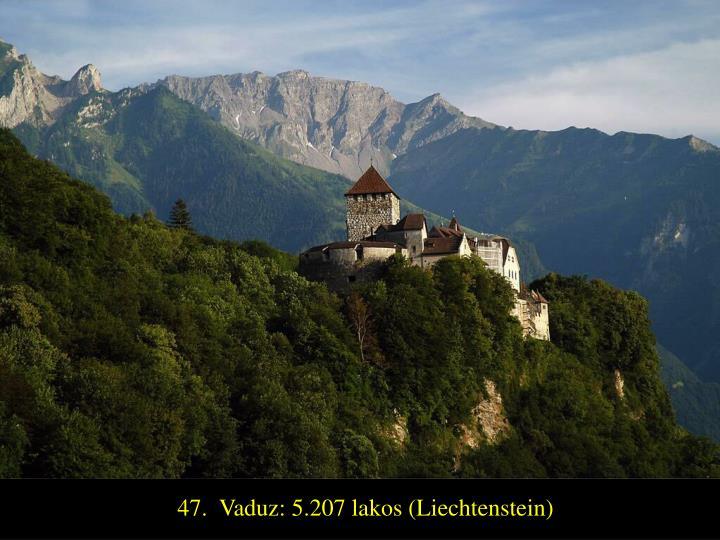 47.  Vaduz: 5.207 lakos (Liechtenstein)