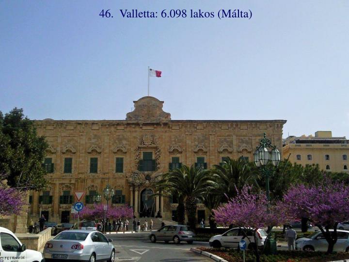 46.  Valletta: 6.098 lakos (Málta)
