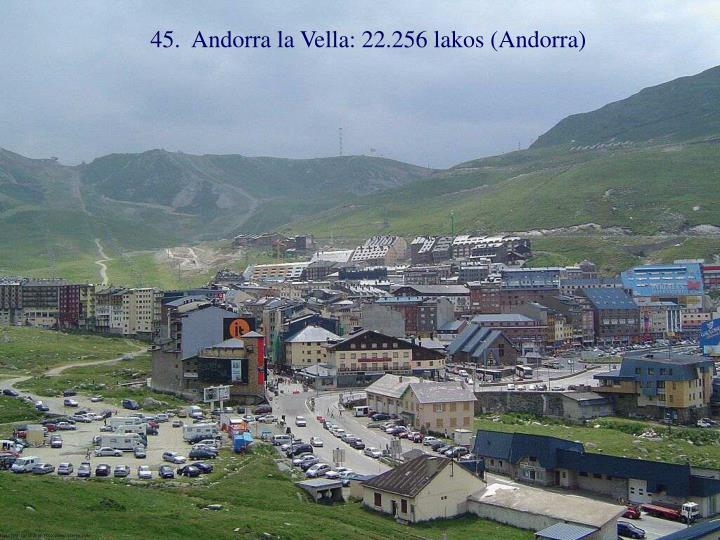 45.  Andorra la Vella: 22.256 lakos (Andorra)