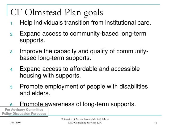 CF Olmstead Plan goals