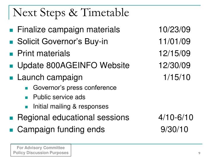 Next Steps & Timetable