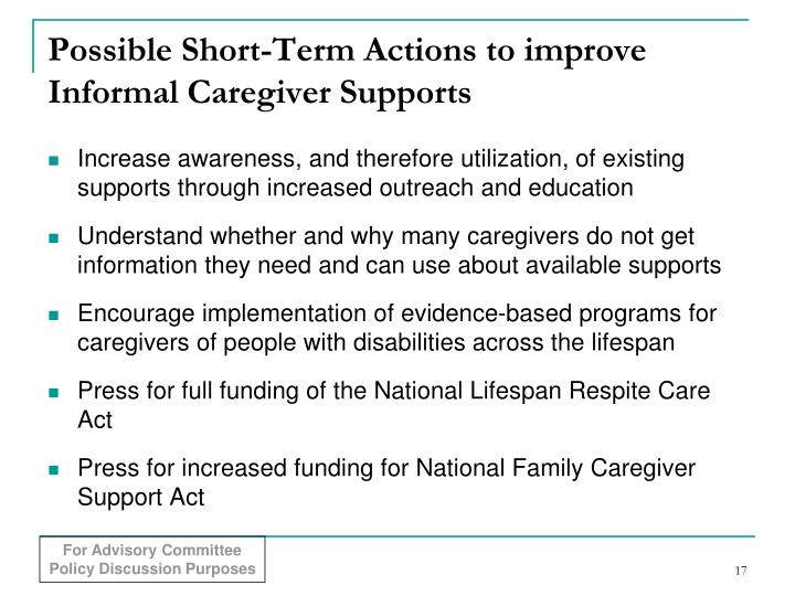 Possible Short-Term Actions to improve Informal Caregiver Supports