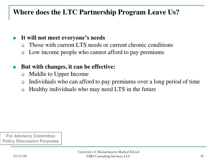 Where does the LTC Partnership Program Leave Us?