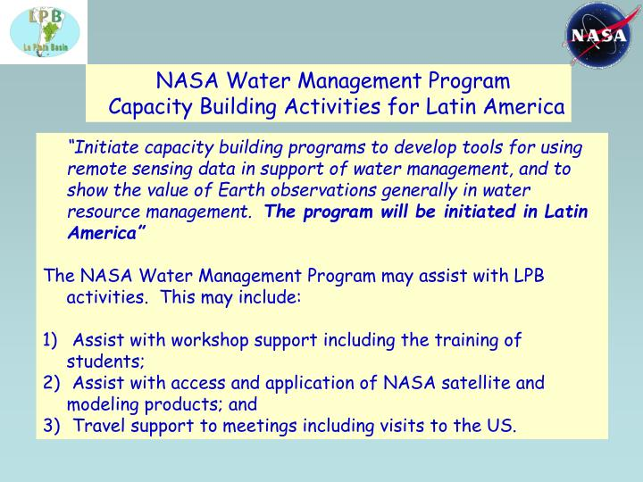 NASA Water Management Program