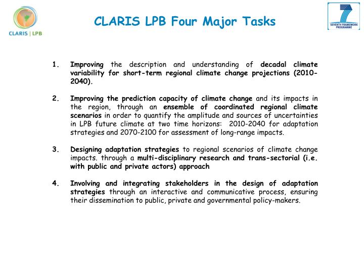 CLARIS LPB Four Major Tasks