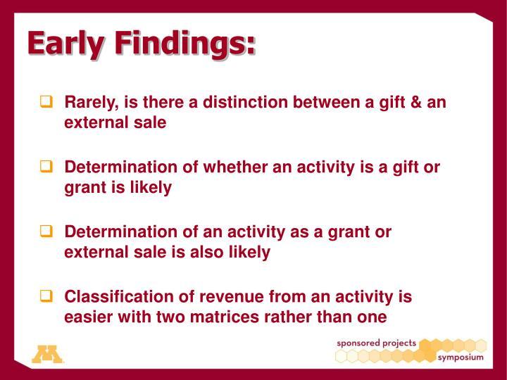 Early Findings: