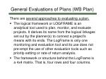 general evaluations of plans wb plan