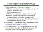 monitoring and evaluation m e