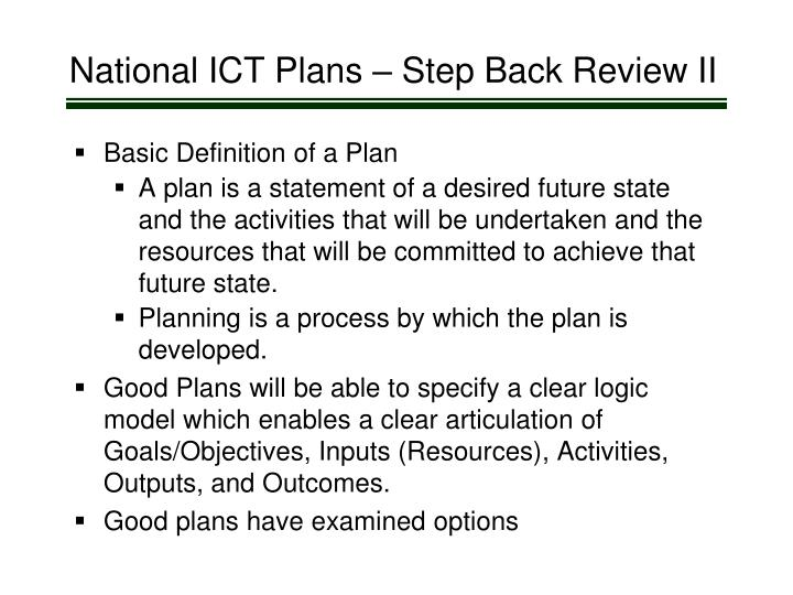 National ICT Plans – Step Back Review II