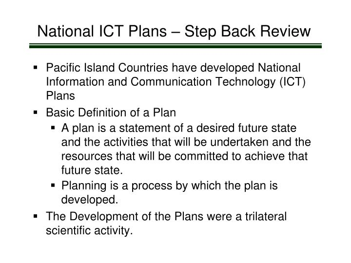 National ICT Plans – Step Back Review